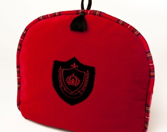 Tea Cozy / Cosy - Red Velvet with Crown Crest and Royal Stewart Tartan Accents / Black Tassel