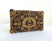 Zippered Bag in Chocolate Brown and Gold with Beaded Zipper Pull - READY TO SHIP