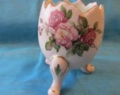 Vintage Soft Pink Footed Egg Shape Hand Painted Rose Floral Bouquet Small Vase