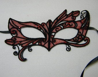 Red and Black Lace and Rhinestone Asymmetrical Adult Masquerade Mask