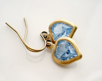 Sapphire Heart Drop Earrings In Brass, Jewels, Light Sapphire Glass Earrings, Blue Earrings, Vintage Stone Earrings