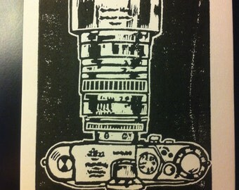 Linocut of a Leica Camera in Black