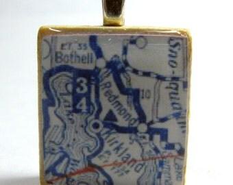 Redmond & Kirkland, Washington and the East Side - 1925 Scrabble tile vintage map pendant