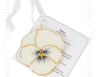 White Real Pansy Ornament - Christmas Gifts - Secret Santa - Christmas Ornaments - Presents - Just Because - Mom