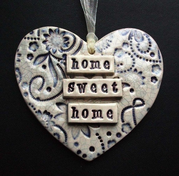 Purple home sweet home ceramic heart decoration