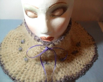 Lovely Mohair Yarn Neck Warmer with Decorative Collar accents in Lavender  1/2013