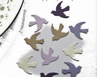 500 Hand Punched Dove Birds, Shades of Purple Collection, Confetti Punch Die Cut Embellishment