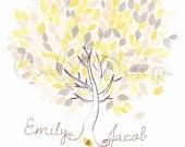 Custom Wedding Watercolor Guestbook tree on canvas 200 guests on the leaves Available as a poster on paper