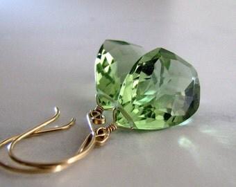 Green Earrings, Green Amethyst Quartz Earrings, Gold Earrings, Long, Light Green Amethyst - Spring Lights