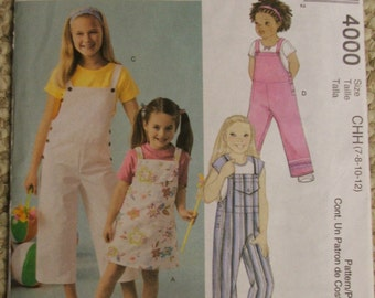 McCalls 4000 Girls Jumper and Jumpsuits sizes 7-8-10-12