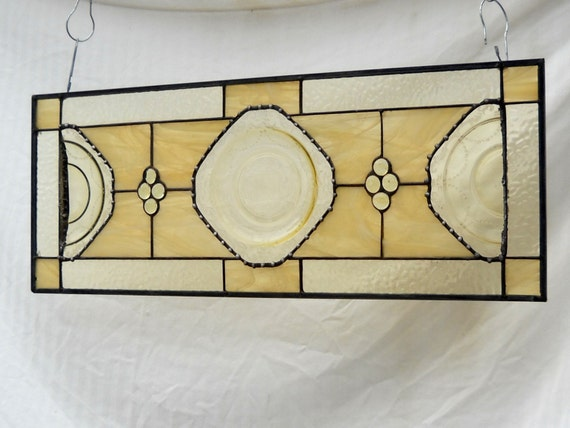 Stained Glass Plate Panel 1930s Depression Glass Madrid Window