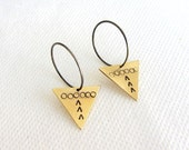 Triangle earrings - hoop earrings - sterling silver hoops -  medium hoop earrings - geometric earrings - Ethnic earrings - brass triangle