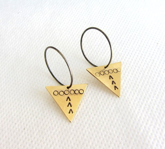 Triangle earrings - hoop earrings - sterling silver hoops -  medium hoop earrings - geometric earrings - Ethnic earrings - brass triangle