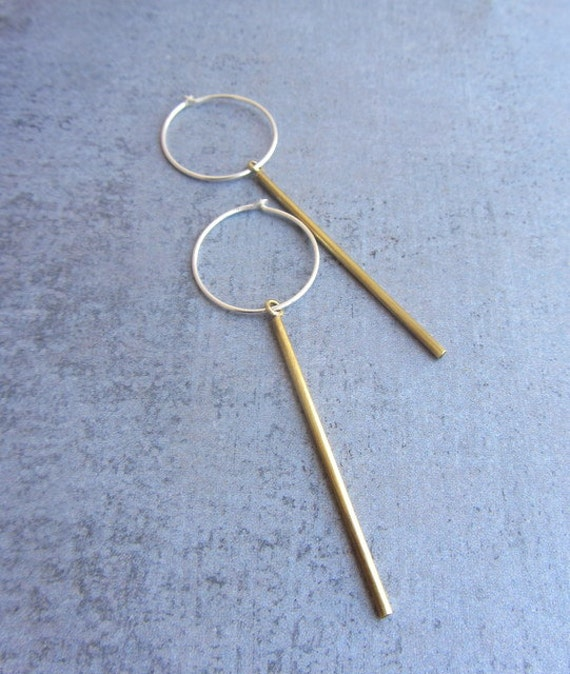 Simple tiny gold brass bar earrings with sterling silver hoops, modern minimalist everyday jewelry.