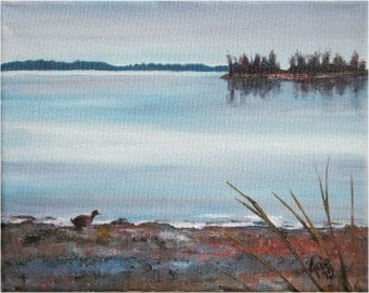 Canadian Lake - 10x8in Original Oil Landscape Painting