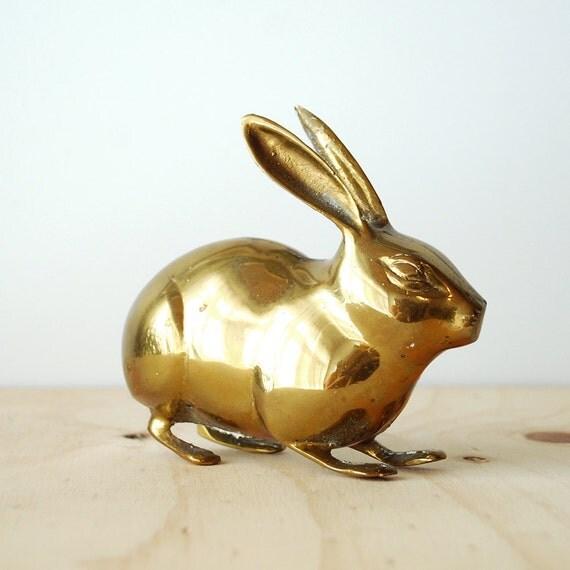Vintage Brass Rabbit Figure Mid Century Modern Home Decor Hollywood Regency Bunny