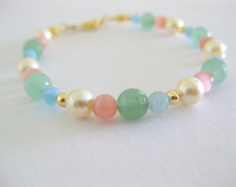 Sweet and dainty pastel mix gemstone bracelet for everyday