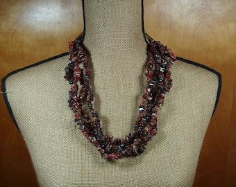 4 Strand Natural Red Jasper Gemstone Chips .925 Sterling Silver Necklace