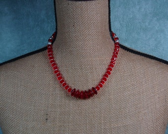 Brilliant Red Facated Crystals and .925 Sterling Silver Necklace and Earrings