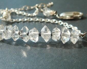 Herkimer Diamond Jewelry, Double Terminated Quartz Crystal Bracelet, Raw, Rustic Gemstones, Sterling Silver Bracelet, Metaphysical Gemstones