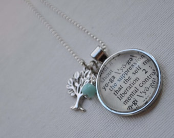 Vintage Dictionary  Necklace Pendant YOGA
