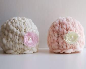 Twin Set of two Newborn Handspun Merino Wool Thick and Thin Flower Beanies
