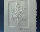 Handmade Card - Embossed Snowflake with White Envelope - Large