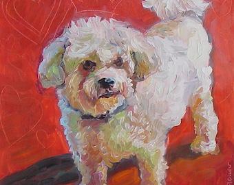 White Fluffy Dog by Gena Semenov - FREE SHIPPING USA