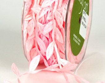 Leaf Satin Ribbon - Pink - 1 inch  - You Choose Yards