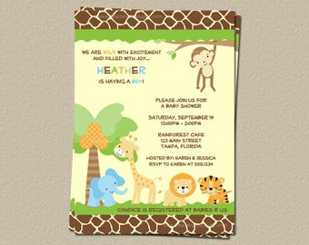 Baby Shower Invitation, Zoo Baby Jungle Invite, Digital Jungle Safari, JGSBL, Print Yourself Electronic File, JPEG and PDF
