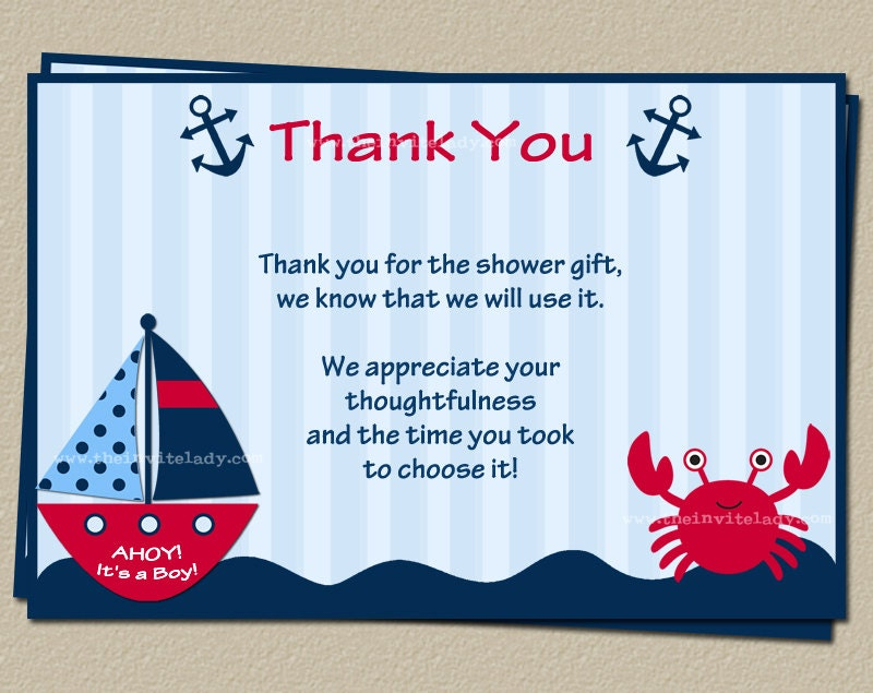 nautical baby shower thank you card red and green included