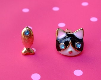 Kitty and Gold Fish earrings