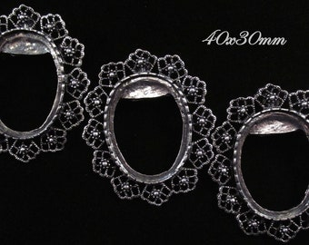 "40x30mm Antique Silver - Brooch/Pendant Setting - ""Enchantment IV"" - 3 pcs : sku 12.02.12.1 - T19"
