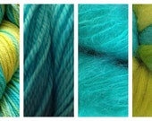 Hand Dyed Samples of Merino Wool DK Sport Weight Yarn in Lime Ice