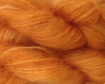 Mohair Yarn in Land Orange Fingering Weight