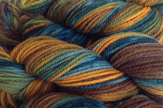 Handpainted Merino Wool Worsted Weight Yarn in Ponderosa Pine