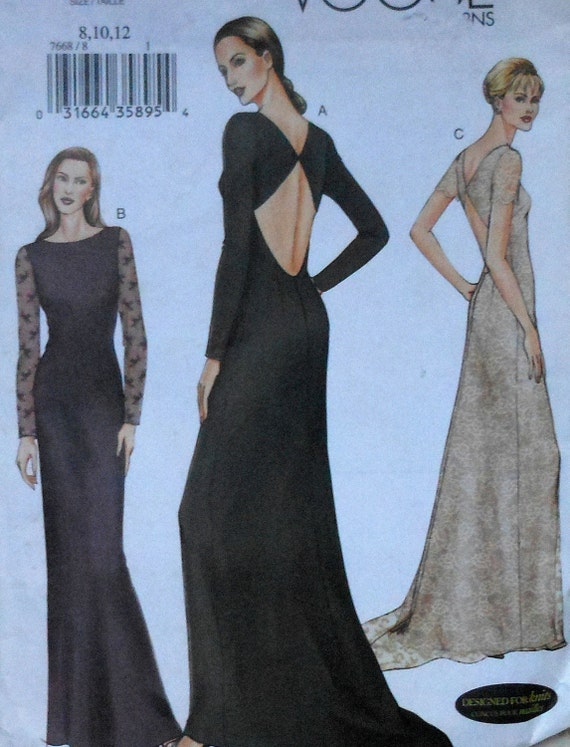 Vogue open back gown sewing pattern uncut vogue by for How to ship a wedding dress usps