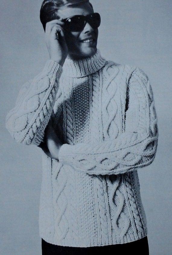 Vintage Men's Aran Style Turtleneck Sweater Knitting Pattern retro 1960s