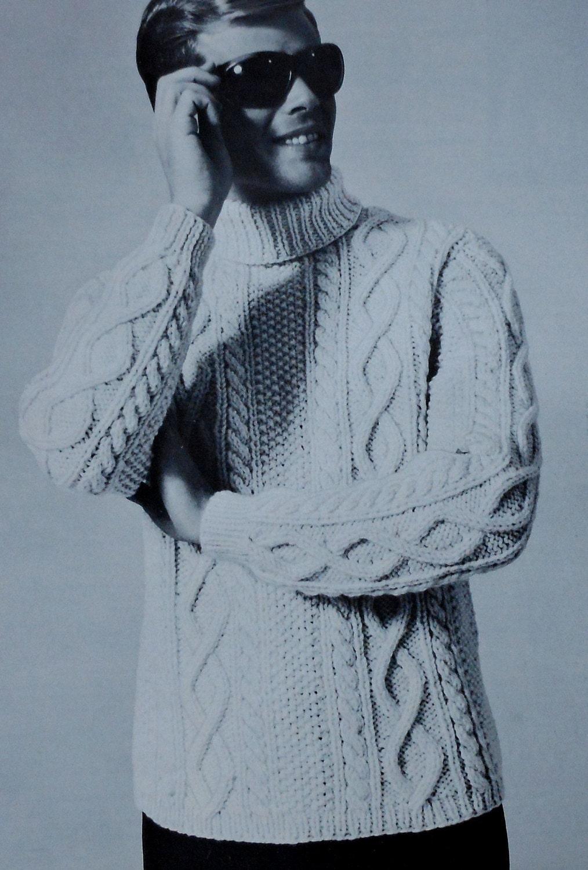 Vintage Mens Aran Style Turtleneck Sweater Knitting