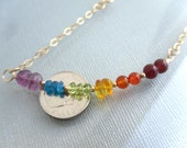 Rainbow Gemstone and 14kt Gold Filled Adjustable Bracelet - 7 Chakras Bracelet - Fits Wrist 5 1/2 to 6 1/2 in. by Tejidos on Etsy