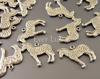 8 Patterned zebra charms for animal focued jewelry and crafts   antique silver style safari zoo animal pendants  AN024-S