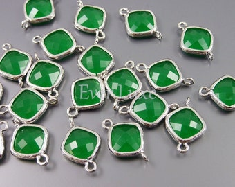 2 royal green necklace findings - square / diamond shaped glass earrings links with silver and deep palace green glass 5063R-PG