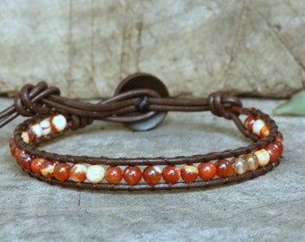 Carnelian Agate Leather Bracelet, coconut button