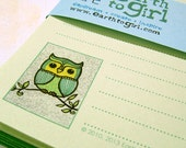 Green Owl Stationery Set