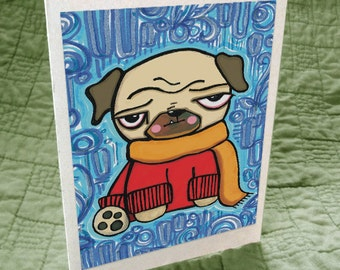 Posh Pug in Cashmere Sweater Greeting Card