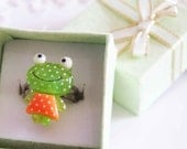 Cute kawaii resin adjustable silver frog ring