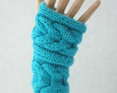 Hand Knit Cabled Fingerless Gloves in Turquoise Acrylic Yarn