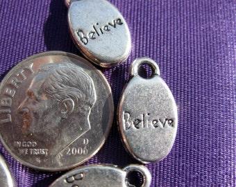 Believe drop Charm 5 pieces Tibetan Silver Jewelry Supply