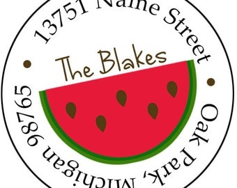 Summer Watermelon Return Address Labels Stickers