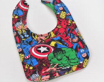 Toddler Bib Marvel Baby 1st Birthday Super Hero Baby Bib Soft Cotton Baby Bib, Made From Marvel Fabric